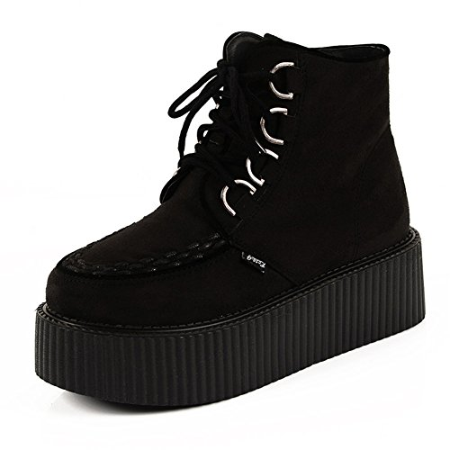 RoseG Women's High Top Suede Lace Up Flat Platform Creepers Shoes Boots Black Size6