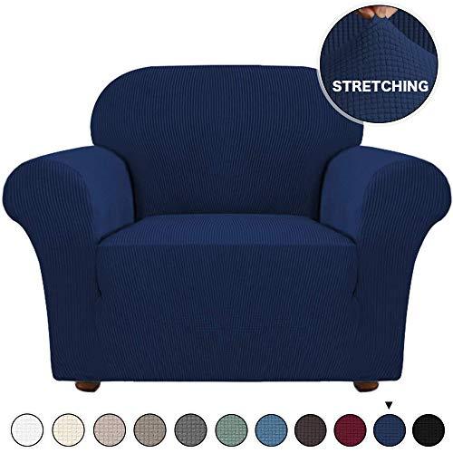 Sofa Cover Stylish Stretch Chair Slipcover Navy Blue Slipcover Jacquard Spandex Sofa...