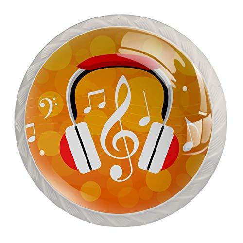 Pack de 4 pomos redondos de cristal para cajones de 30 mm para armarios y notas musicales para auriculares