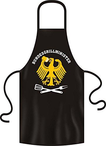 RAHMENLOS Grillschürze Grillminister Bundesgrillminister schwarz, 100% Baumwolle, Universalgröße für Erwachsene.