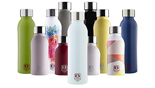 BUGATTI B Bottles Twin Bottiglia Termica 500 ML Color Light Blue Mantiene i liquidi Caldi per 12 H, Freddi per 24 e Il Ghiaccio per 36 H Borraccia Fitness in Acciaio Inox 18/10 Riutilizzabile