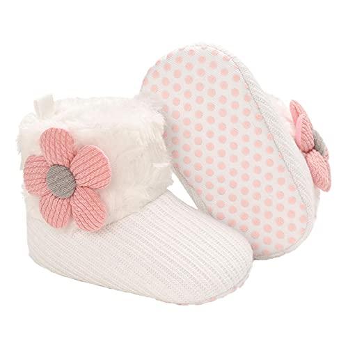 Botas de bebé Aisprts para invierno, suave, cálido, suave, para bebés de 0 a 6 meses, calcetines para bebés, color Blanco, talla 0-6 meses