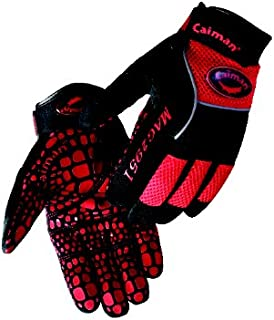 Caiman 2951-6 Extra Large Multi Activity Glove with Silicone Gator Pattern on Synthetic Leather, Red and Black