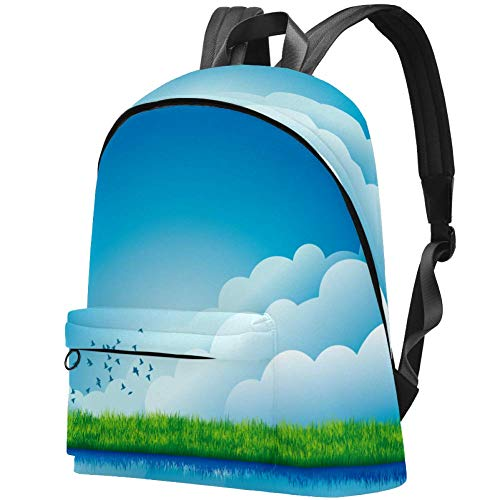 College Student Bookbag Fits 15.6 Inch Notebook Backpack Windmill, Blue Sky, White Clouds Pattern Daypack