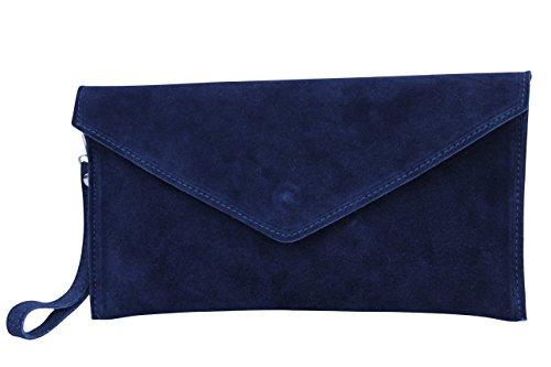AMBRA Moda Damen Wildleder Envelope Clutch Abendtasche Partytasche Handschlaufe Suede Handgelenktasche Schultertasche Umhaengtasche Unterarmtasche Damentasche Veloursleder WL801 (Marineblau)