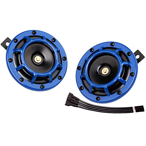 FARBIN Car Horn 12v Loud Super tone High Tone/Low Tone Metal Twin Horn Kit with Protective Grill (blue)