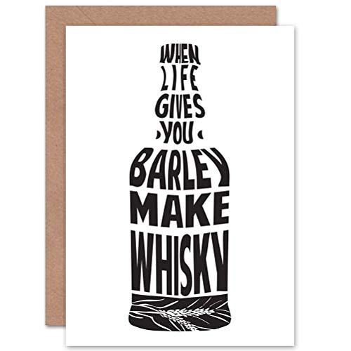 Wee Blue Coo Birthday Graphic Barley Make Whisky Bottle Art Greetings Greeting Card