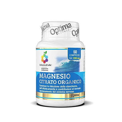 Colours of Life Magnesio Citrato Organico - Integratore di Magnesio - Riduce Stanchezza e Affaticamento - Senza Glutine e Vegano, 60 Compresse