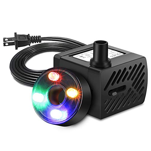PULACO Mini Fountain Pump with LED Light, (50GPH 3W) Submersible Pump for Water Features, Fish Pond, Outdoor Fountain, Aquariums, Indoor Fountain, Home Décor Fountain