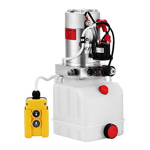 ZauberLu 12V/DC Hydraulikpumpe Einfachwirkend Kipperpumpe Hydraulikaggregat 4L Kunststofftank Antriebseinrichtung für Auto(4L Einfachwirkend Kunststoff)
