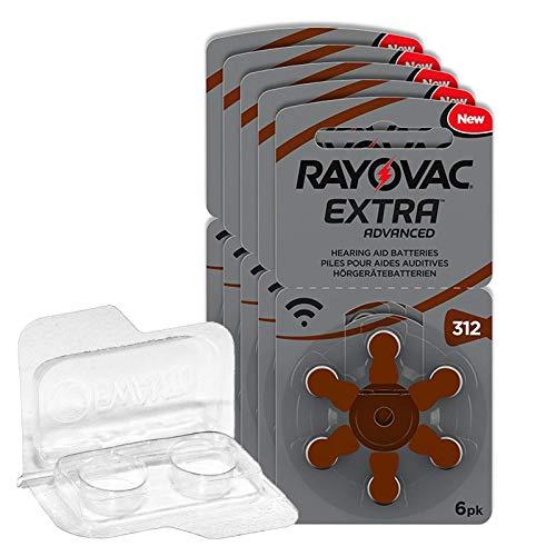 30x Rayovac Extra Advanced Gr. 312-5x 6er Blister Hörgerätebatterien PR41 Braun 24607 + Aufbewahrungsbox für 2 Hörgerätebatterien, Batteriebox für Knopfzellen bis 12 mm x 6 mm (Ø x H)