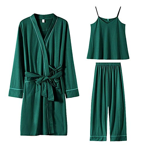 Cotton Women Pajamas Set Lougne Casual Pijamas Suit Bathrobe Gown Sleepwear Soft Nightwear