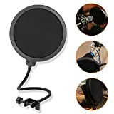 Microphone Pop Filter 6 inch Round Shape Wind Screen Mask Dual Layer Gooseneck Flexible for Blue Yeti Microphones