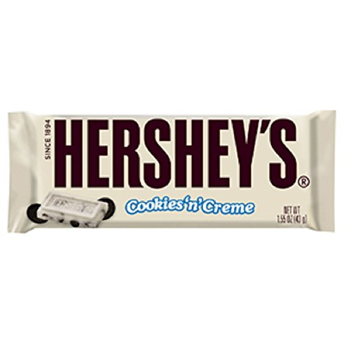 HERSHEY'S Cookies 'n' Creme Candy Bar, 1.55 Ounce (Pack of 36)