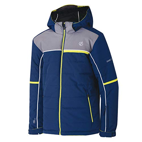 Dare 2b Kinder Initiator Waterproof Breathable Quilted Silhouette Ski Snowboard Hooded Jacket with Snowskirt and High Loft Insulation Jacke, Admiral Blau/Aluminium, 11-12