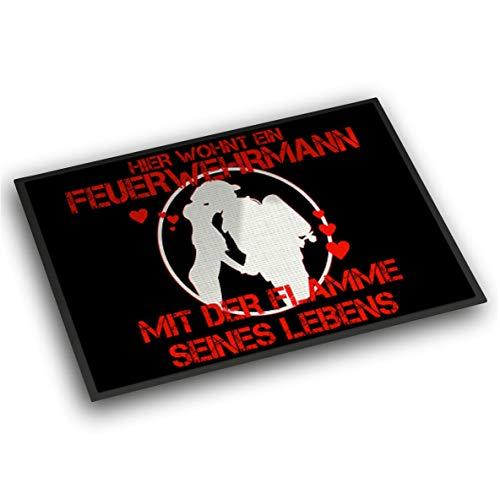 Roter Hahn 112 Einzigartige Feuerwehr Fussmatte 60x40cm Flamme des Lebens Fußmatte Vorleger Abstreicher