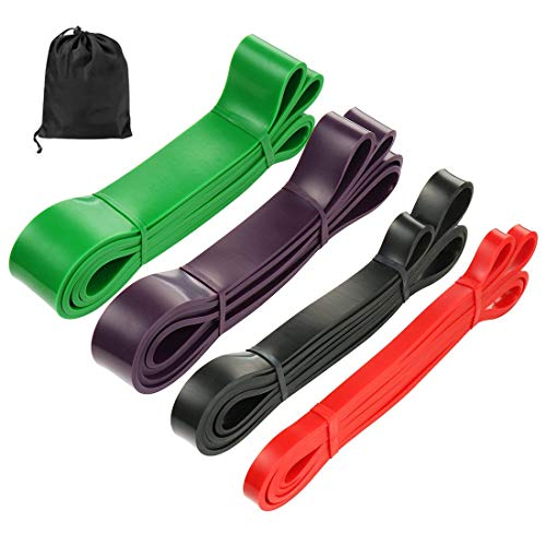 Klimmzughilfe-Band – Set mit 4 Widerstandsbändern, Latex-Übungsbänder für Körpertraining, Stretching, Widerstandstraining, Powerlifting, Gewichtheben
