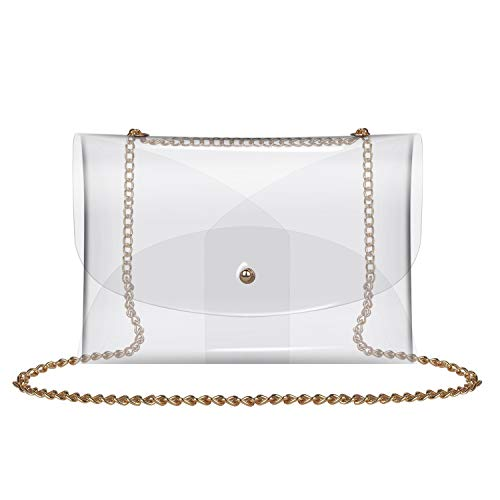 Clear Bag by Y&R Direct, Women's PVC Transparent Cross Body Bag Clutch Messenger Handbag Tote Shoulder Bag Clear Purse Stadium Approved, 9.056.1 inches