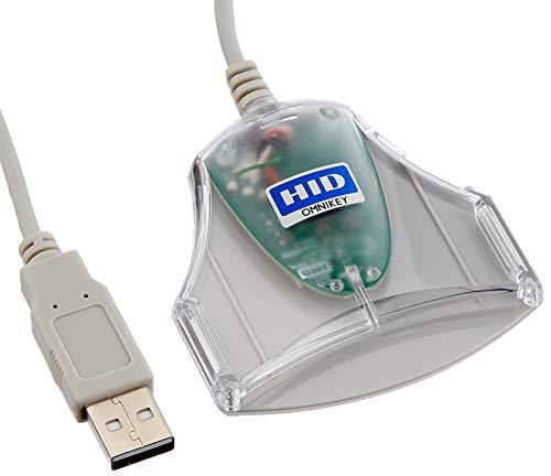 HID Omnikey - Lector de Tarjetas de identificación Eid Smart Card USB ID 1021 3021 (Gris)