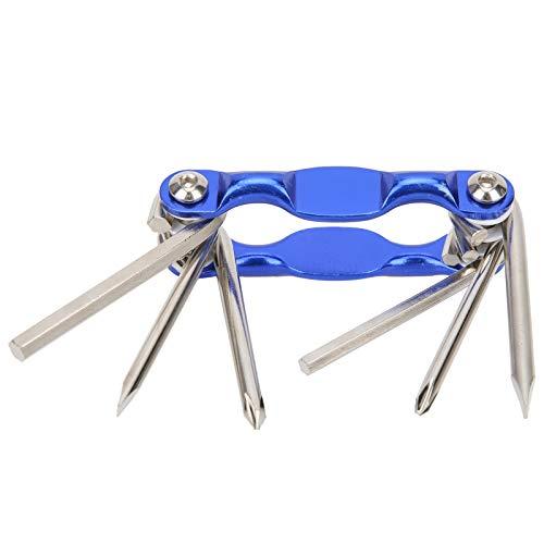 Wosune Kit de Herramientas para Bicicletas, Herramienta para Bicicletas 6 en 1, Herramienta de reparación Diaria del hogar de Acero de Metal Duro, 3.3x1.3in para Tiendas de Bicicletas