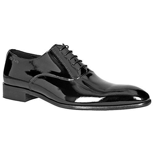 Zweigut® -Hamburg- piekfein #102W Herren Lack Leder Oxford Schuh Weite H Business Hochzeit Smoking, Schuhgröße:40, Farbe:lackschwarz
