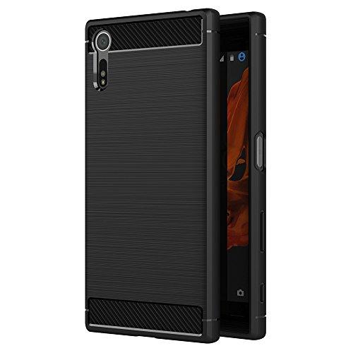 AICEK Funda Sony Xperia XZ/Sony Xperia XZs, Negro Silicona Fundas para Xperia XZ/Xperia XZs Carcasa Sony XZ/Sony XZss Fibra de Carbono Funda Case