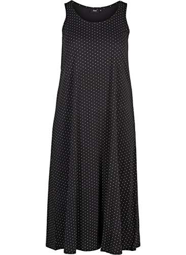 Zizzi Damen Jersykleid Ärmellos Loose Casual 7/8 Langes Kleid Große Größen 42-44 Schwarz