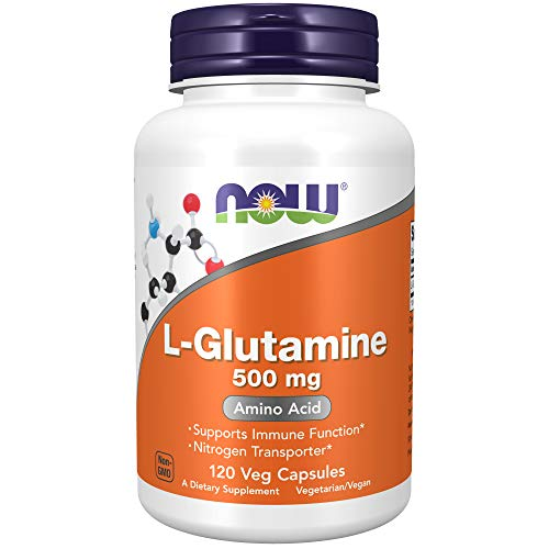 Now L-Glutamine 500 mg, 300 Vegan Capsules - Non-GMO, Vegan, Kosher
