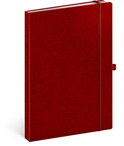 Notizbuch A5 Liniert, Notizblock Notizheft mit Gummiband, Business Notebook (Rot/Rot)