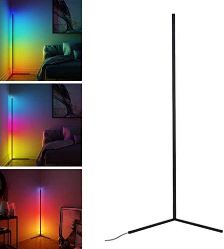 McNory Lámpara de pie de esquina con mando a distancia, regulable, cambio de color RGB, brillo y temperatura de color, para salón, dormitorio, sala de juegos, 24 W