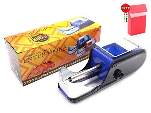 HIBRON Maquina Electrica Entubadora De Cigarros Tubos Liar Tabaco Portatil Alta Calidad + 1 Pitillera De Regalo (58002 Azul)