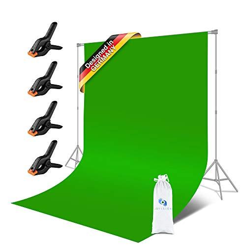 JS Vision | Faltbares Greenscreen Tuch [1,80x2,80m] – Green Background [100 % Baumwolle] – Grünes Tuch 4X Klemmen – Film Hintergrund, Shooting