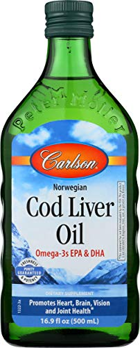 Carlson - Cod Liver Oil, 1100 mg Omega-3s, Wild-Caught Norwegian Arctic Cod-Liver Oil, Sustainably Sourced Nordic Fish Oil Liquid, Unflavored, 500 ml (16.9 Fl Oz)