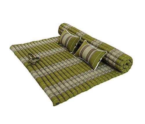 Traditionelles Thailändische Kapok XXL aufrollbar Matratze für 2mit 2passenden Unterstützung Kissen für Yoga Meditation Massage oder Entspannung grün