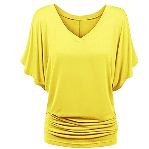 N\P Batwing manga camiseta sólida camiseta casual verano señora v-cuello túnica mujer manga corta camisa - amarillo - XX-Large