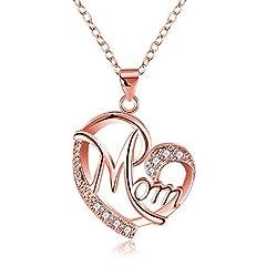 Idea Regalo - Deesos Regali Festa della Mamma, Collana miglior Regalo per Il Compleanno della Mamma Cuore Diamante Collana Pendente per la Mamma Compleanno Oro Rosa