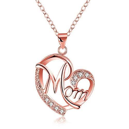 Deesos Día de la Madre Regalo, Collar cumpleaños de la Madre Corazón Diamante, Collar Colgante para el cumpleaños de mamá Oro Rosa