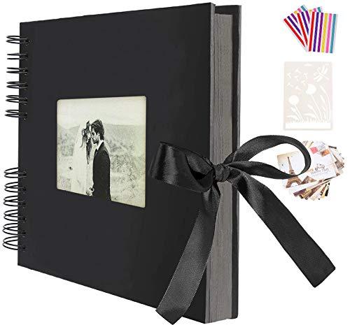 AIOR Album Photo Traditionnel DIY Scrapbook Adhesif 40 Feuilles (80 Pages), Scrapbooking Album Mariage Livre d'or, Idee Cadeau Couple Femme pour Valentin de Noël Anniversaire (Noir)