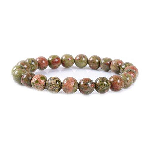 Justinstones Natural Unakite Gemstone 8mm Round Beads Stretch Bracelet 7 Inch Unisex