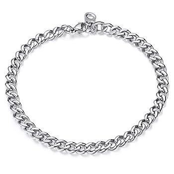 FindChic Wrist Chain Boy Bracelets Stainless Steel Bracelet for Men or Women Heavy Duty Curb Link Chains Bracelets 5MM Width 7.5   Length