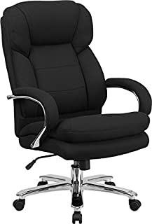 StarSun Depot Hercules Series 24/7 Intensive Use Big & Tall 500 lb. Rated Black Fabric Executive Swivel Chair with Loop Arms 28