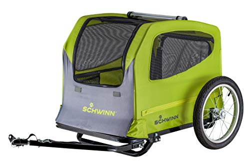 Schwinn Rascal Bike Pet Trailer, For Small and Large Dogs, Large (Up to 100lbs), Green