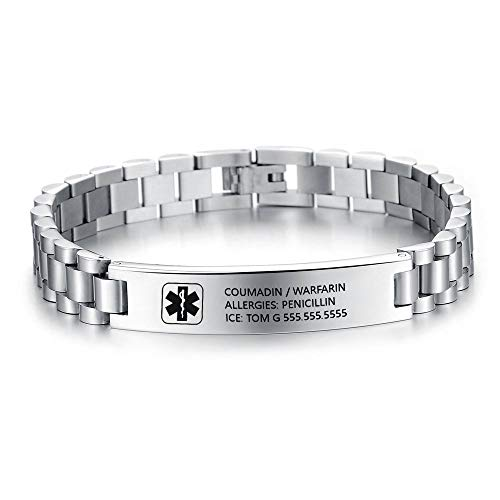 Personalised Medical Alert Bracelet for Mens Women Stainless Steel Wristband SOS Medical ID Bracelet Sport Official ID Silver Black Band Customised Engraved Text Couple Bracelets Gift for Him and Her