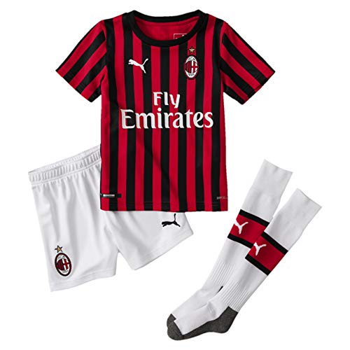 PUMA Kinder ACM Home Mini-Kit Sponsor Logo with Socks Trikot, Tango Red Black, 116