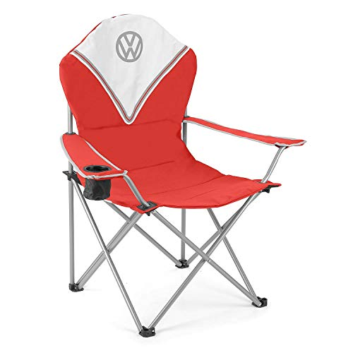 Board Masters Volkswagen Deluxe VW Folding Camping Chair Lightweight Portable Heavy Duty Padded with Cup Holder, Campervan Accessories - Gifts for Camper Van Owners