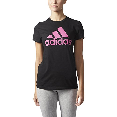 adidas Womens Athletics Graphic Fitted Tee, Black/Pink, Small