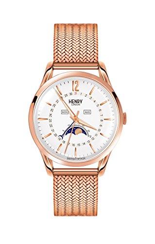 Henry London Unisex Mondphase Quarz Uhr mit Edelstahl Armband HL39-LM-0162