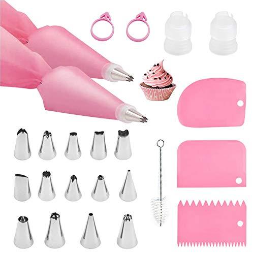 TSHAOUN Juego de 24 bolsas y puntas, decoración de pasteles con 14 boquillas de acero inoxidable, 2 bolsas de tubería, 2 acopladores, 3 raspadores de pasteles, 2 lazos para bolsas de tubería (rosa)