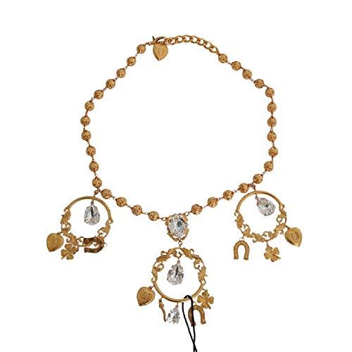 Dolce & Gabbana - Collar con Colgante de latón Dorado y Cristal Transparente
