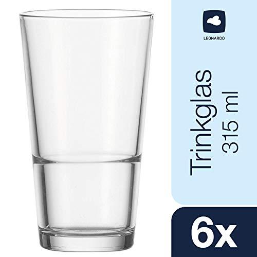 Leonardo Trinkglas Event, 6-er Set, 315 ml, Stapelbecher, Saftglas, Wasserglas, 010899